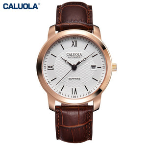 Caluola Automatic Watch Date Calendar Vintage Casual Watch Men Watch CA1029M