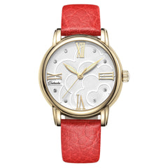Caluola Fashion Quartz Watch Women Watch Yellow Gold Dress Luminous Watch CA1031L