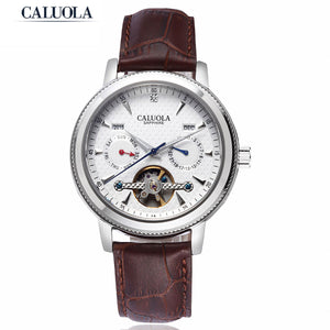 Caluola Tourbillon Automatic Watches Men Sports Leather Strap Watches CA1034M