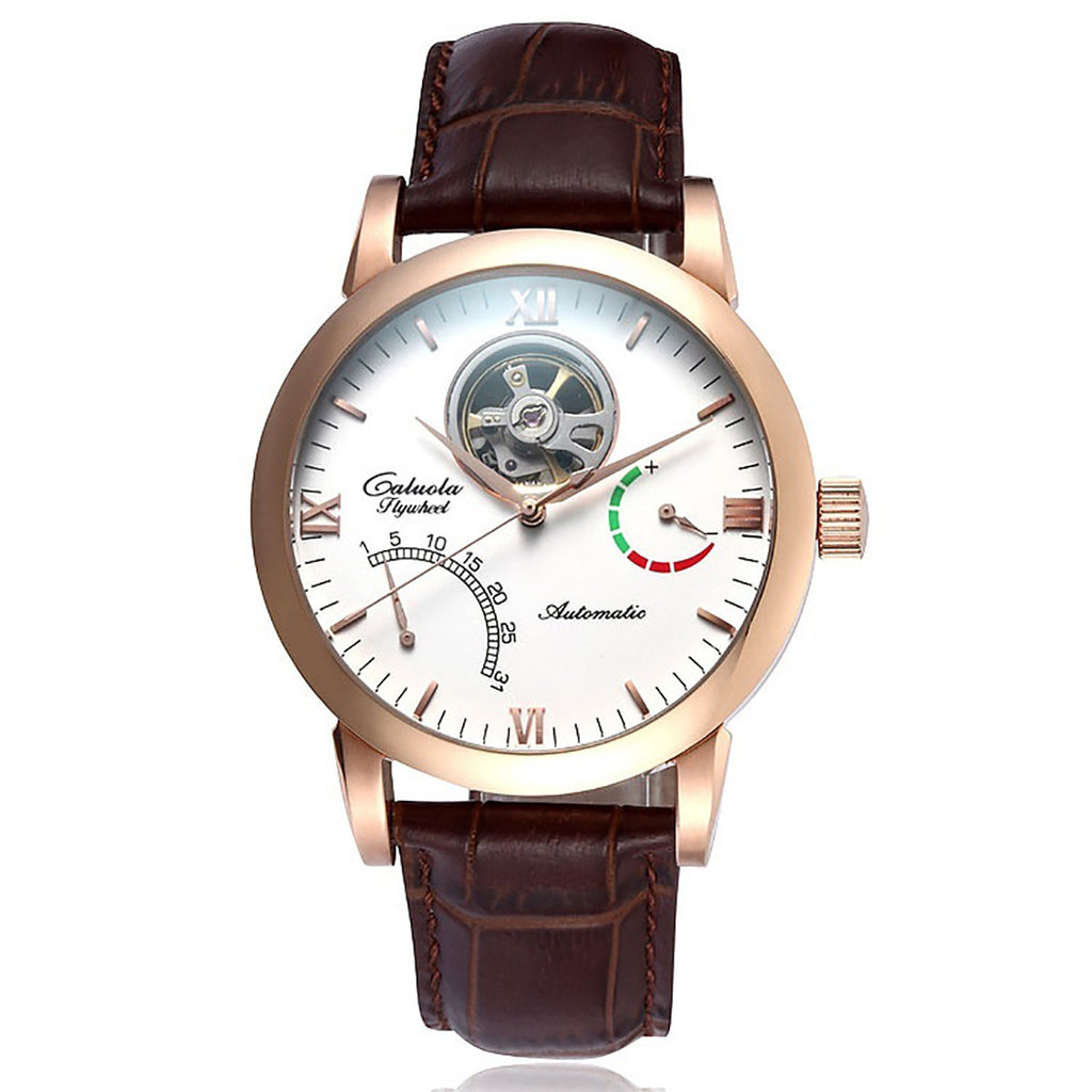 Caluola Luminous Tourbillon Automatic Watch Leather Fashion Watch Date Men Watch CA1049M