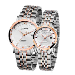 Caluola Quartz Ultra Thin Casual Watch Sport Full Steel Date Luminous Couple Watch CA1050