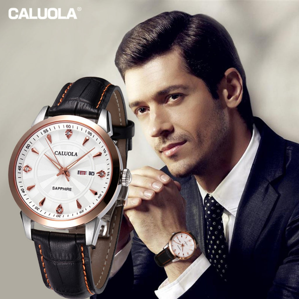 Caluola Business Luminous Men Watch Automatic Fashion Day-Date Leather Strap Watch CA1070MM