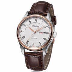 Caluola Automatic Men Watch Business Watches with Day-Date Fashion Leather Strap Watch CA1092M