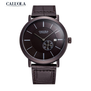 Caluola Men Watch Simple Watch Coffee PVD Automatic Date Fashion Watch CA1122MM