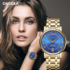 Caluola Automatic Watch Date Roman Numeral Vintage Women Yellow Gold Watch Fashion CA1143ML