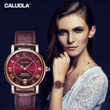 Caluola Automatic Watch Date Roman Numeral Vintage Women Leather Strap Watch Fashion CA1143ML