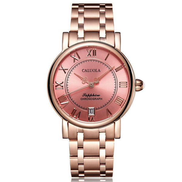 Caluola Automatic Watch Date Roman Numeral Vintage Women Rose Gold Watch Fashion CA1143ML