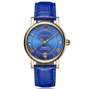 Caluola Roman Numeral Vintage Women Yellow Gold Leather Strap Watch Fashion CA1143ML