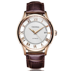 Caluola Men Watch Automatic Vintage Date Fashion Watch Leather Strap CA1155MM