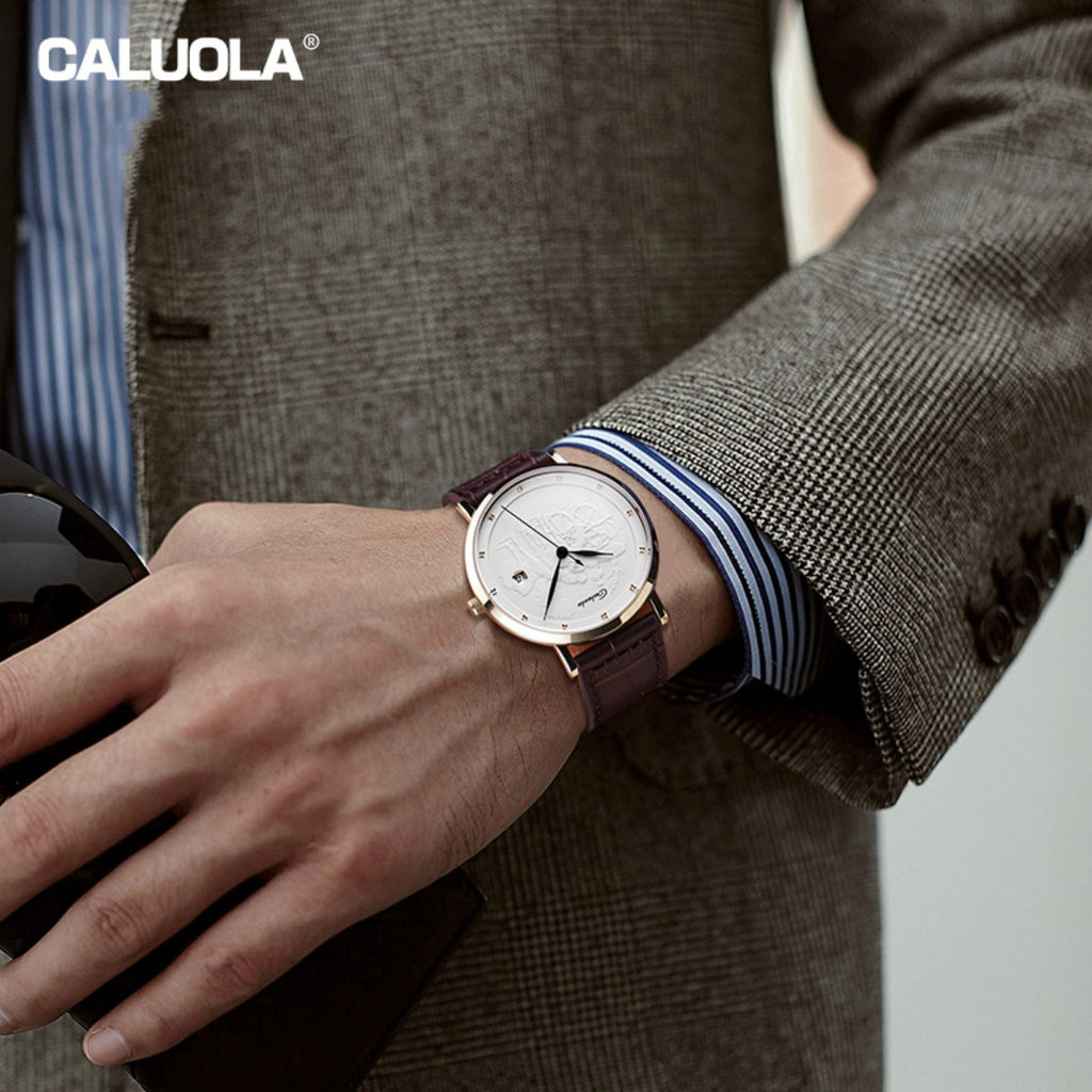 Caluola Automatic Watch Fashion Date Men Leather Strap Watch Vintage Casual Watch CA1158MM
