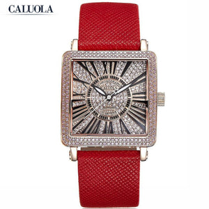 Caluola Women Watch Quartz Diamond Square Watch Fashion Watch CA1164L