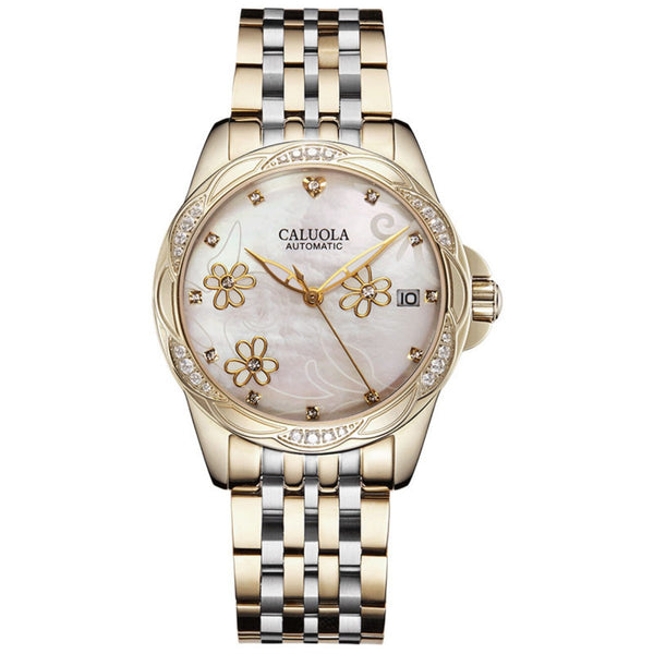 Caluola Automatic Watch Date Fashion Vintage with Diamonds Women Watch CA1193ML