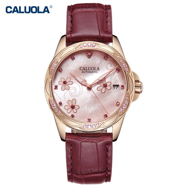 Caluola Automatic Watch Date Fashion Vintage with Diamonds Rose Gold Women Watch CA1193ML