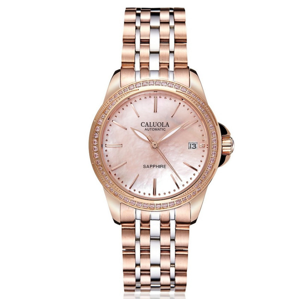 Caluola Automatic Watch Date Fashion Vintage with Diamonds Women Watch CA1201ML