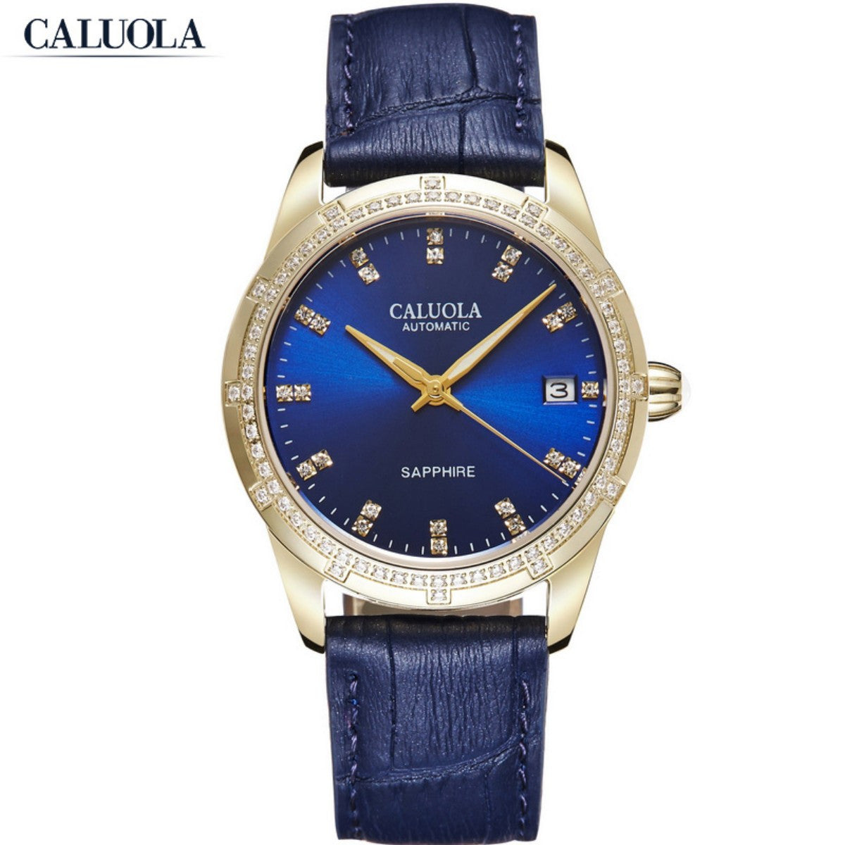 Caluola Automatic Watch Diamond Date Luminous Fashion Leather Strap Watch Women Watch CA1202ML