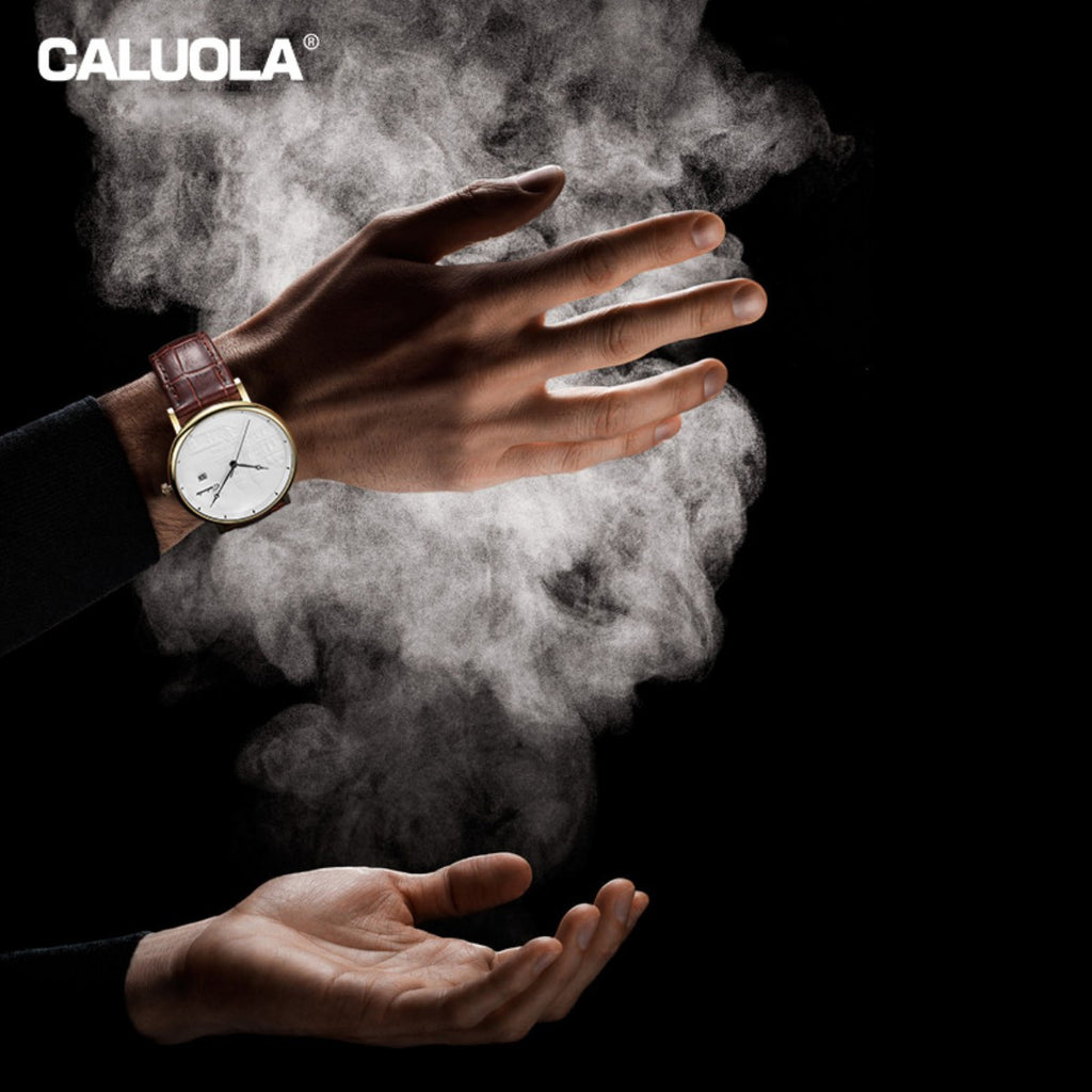 Caluola Automatic Watch Fashion Date Men Leather Strap Watch Vintage Casual Watch CA1220M