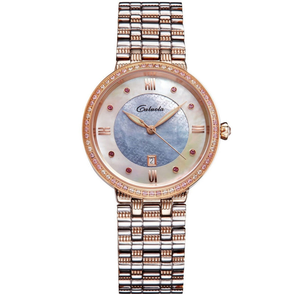Caluola Quartz Watch Women Watch Diamond Luminous Fashion Date Gold Watch CA1172L