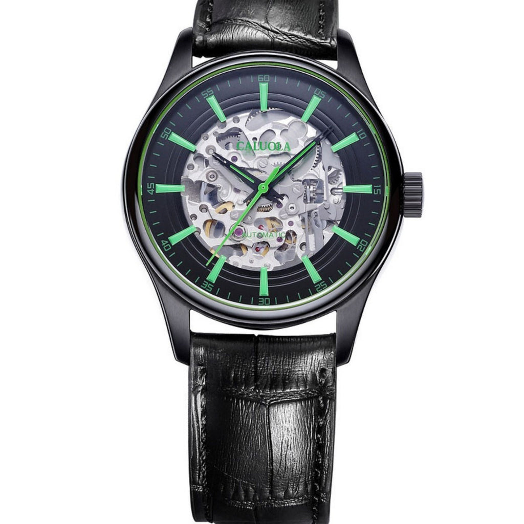 Caluola Exquisite Men Watch Automatic Fashion Skeleton Dial Design Leather CA1132MM