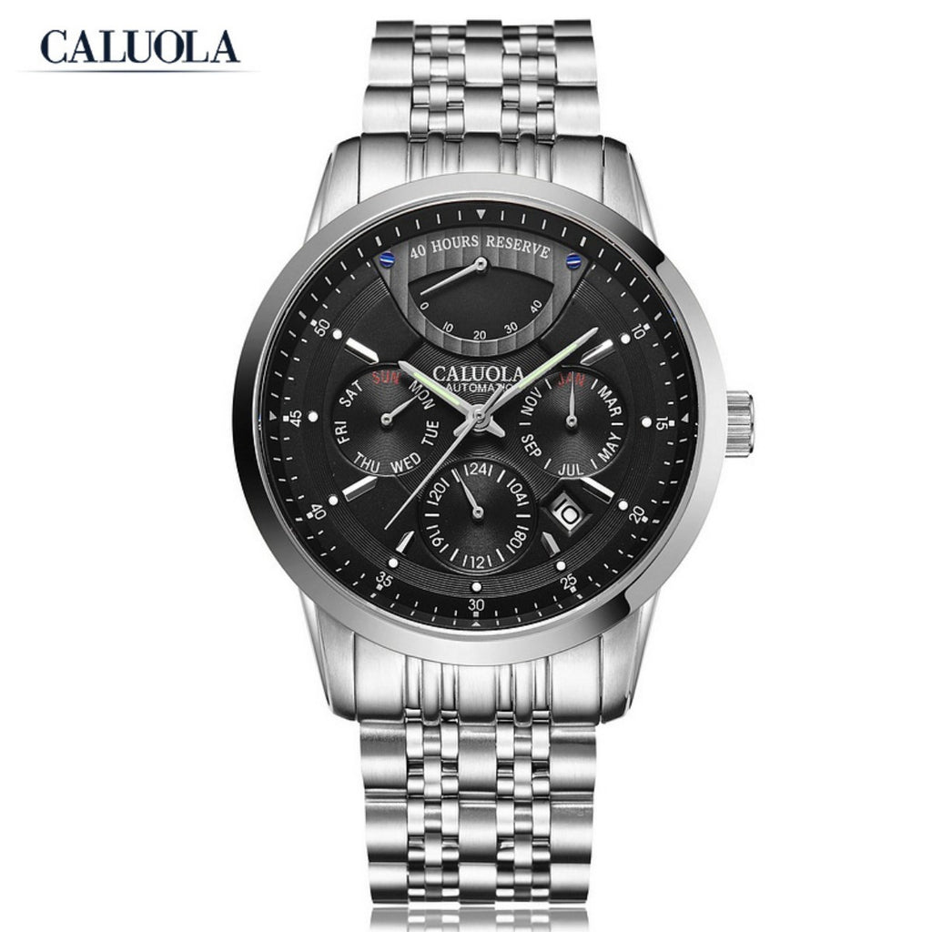 Caluola Automatic Watch Men Watch Fashion Day-Date Power Reserve Month Business CA1165MM1