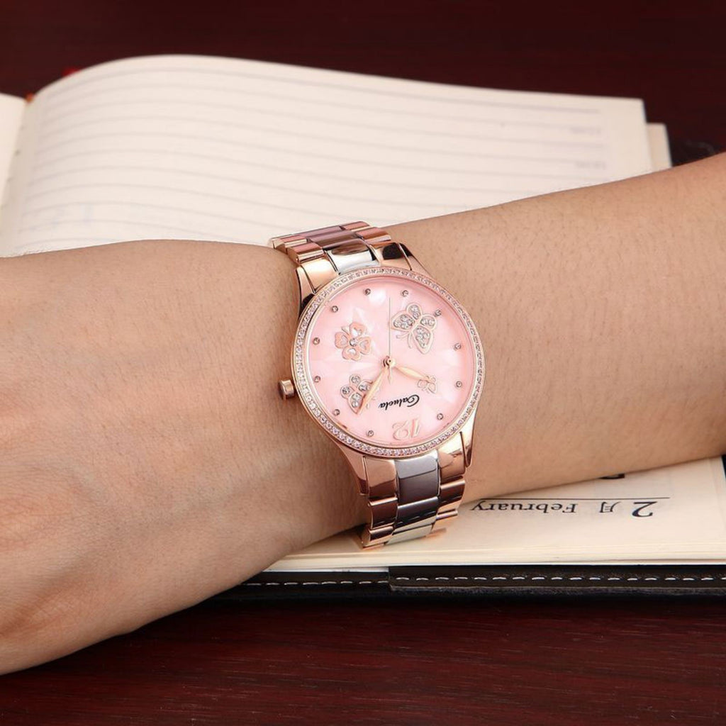 Caluola Quartz Watch For Women Fashion Watch Diamond Luminous CA1167L