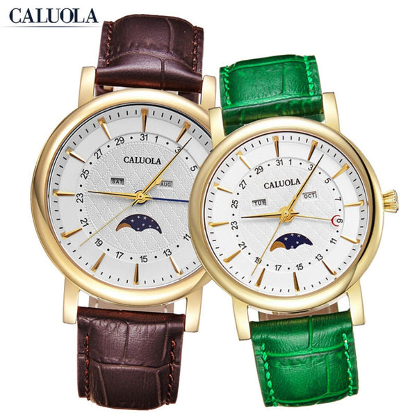 Caluola Couple Watch Quartz Day Month MoonPhase Fashion Watch Leather CA1174GL