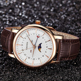 Caluola Men Watch Fashion Quartz Watch Day Month Moon Phase Leather CA1174GL
