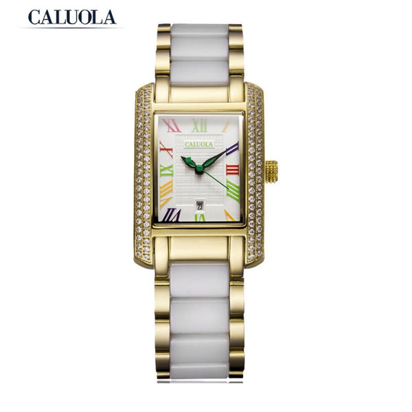 Caluola Fashion Women Watch Square Watch Quartz Ceramic Dress Watch CA1101L