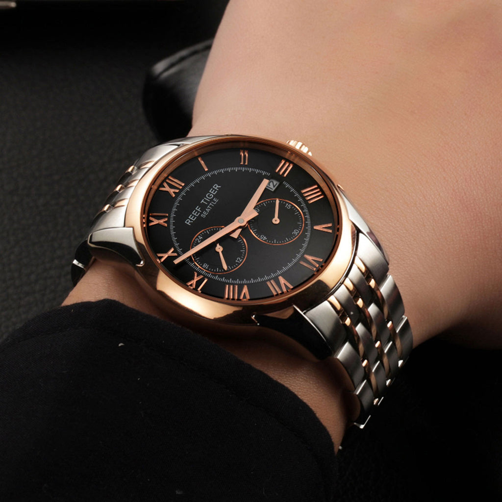 Reef Tiger Business Date Four Hands Rose Gold Steel Black Dial Watch RGA165