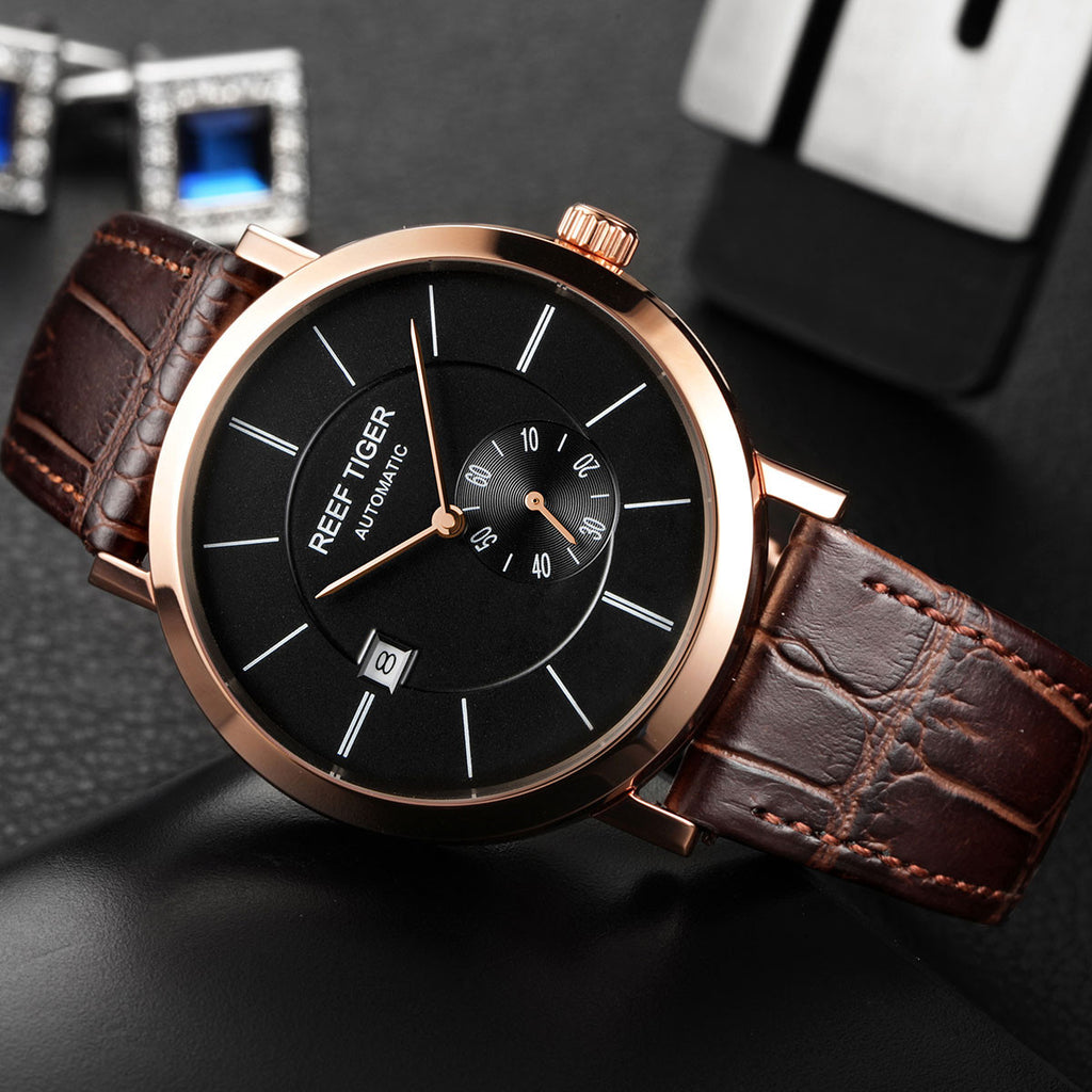Reef Tiger Casual Mens Rose Gold Black Dial Automatic Watch with Date RGA161