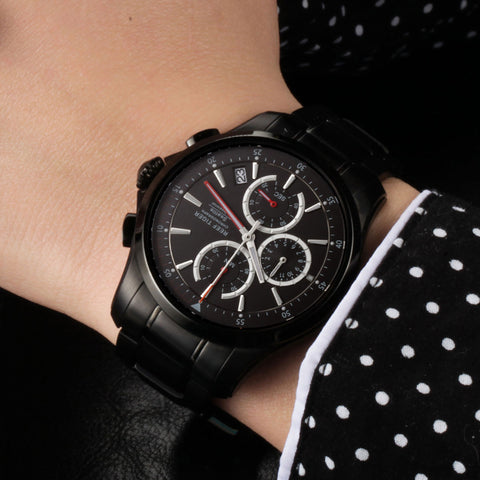 Reef Tiger Chronograph Date Black Steel Red Hands Watches RGA1663