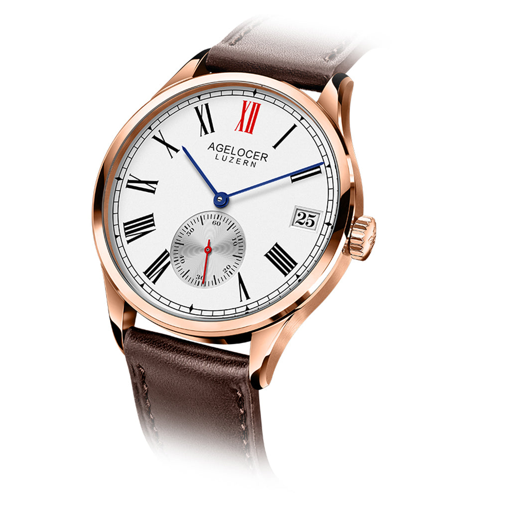 Agelocer Role Men's Rose Gold White Dial Leather Strap Watch Date 1101D2