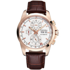 Caluola Men Watch Automatic Watch With Day-Date Month Year 24-Hour Business Leather Strap CA1106M