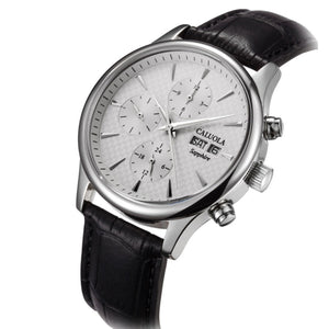 Caluola Automatic Watch With Day-Date Month 24-Hour Business Men Leather Strap Watch CA1112M