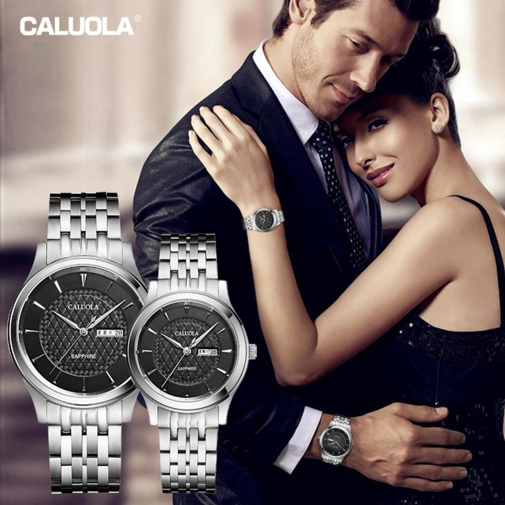 Caluola Women Watch Quartz Day-Date Watch Casual Steel Watch CA1187GL