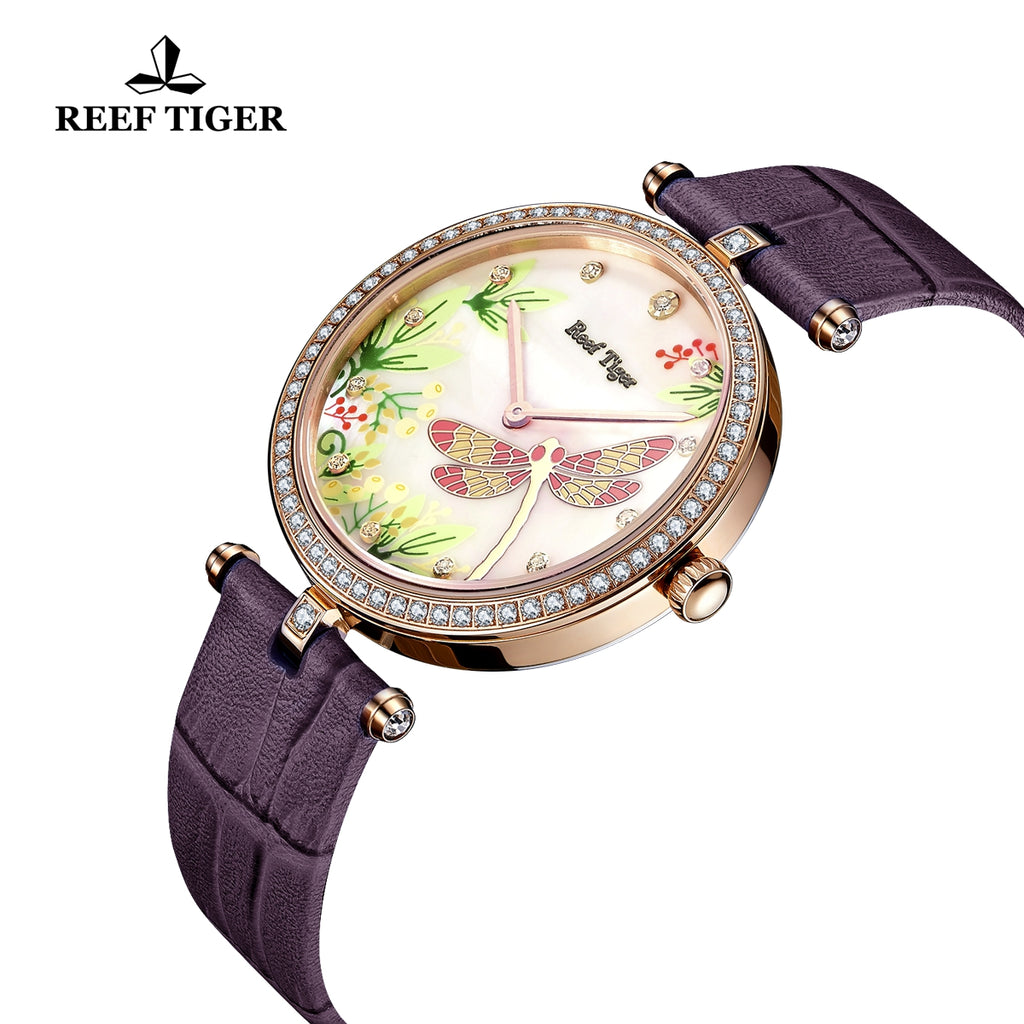 Reef Tiger Luxury Women Rose Gold MOP Dial Diamonds Leather Strap Quartz Watch RGA151-PWPUD