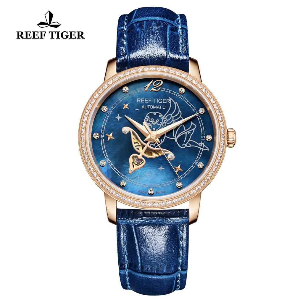 Reef Tiger Rose Gold  Luxury Blue Leather Strap Watch for Women RGA1550