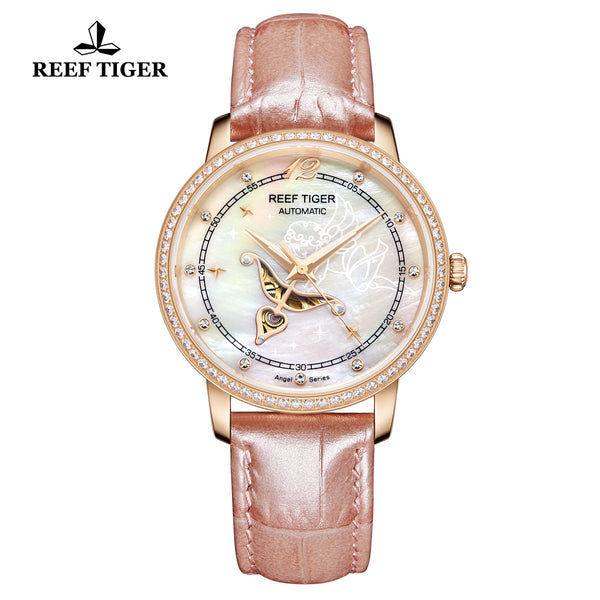 Reef Tiger Rose Gold  Luxury Leather Strap Watch for Women RGA1550