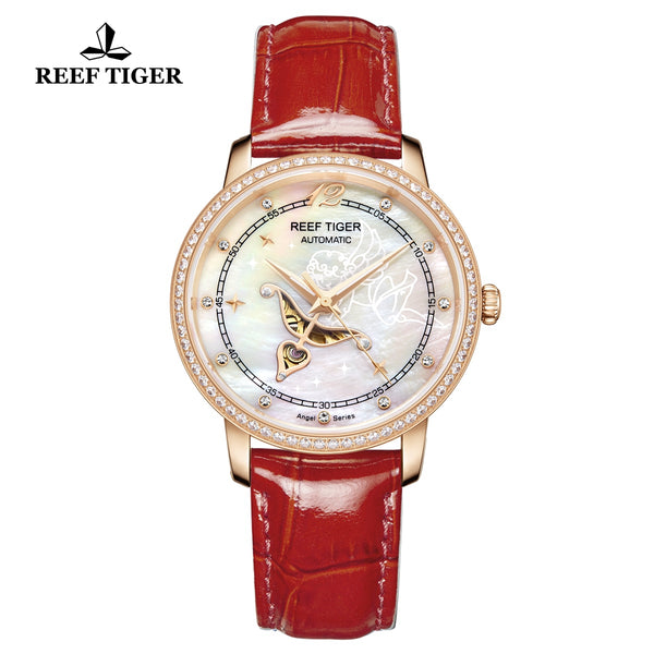 Reef Tiger Fashion Lady Rose Gold Red Leather Strap Diamonds Women Watch RGA1550