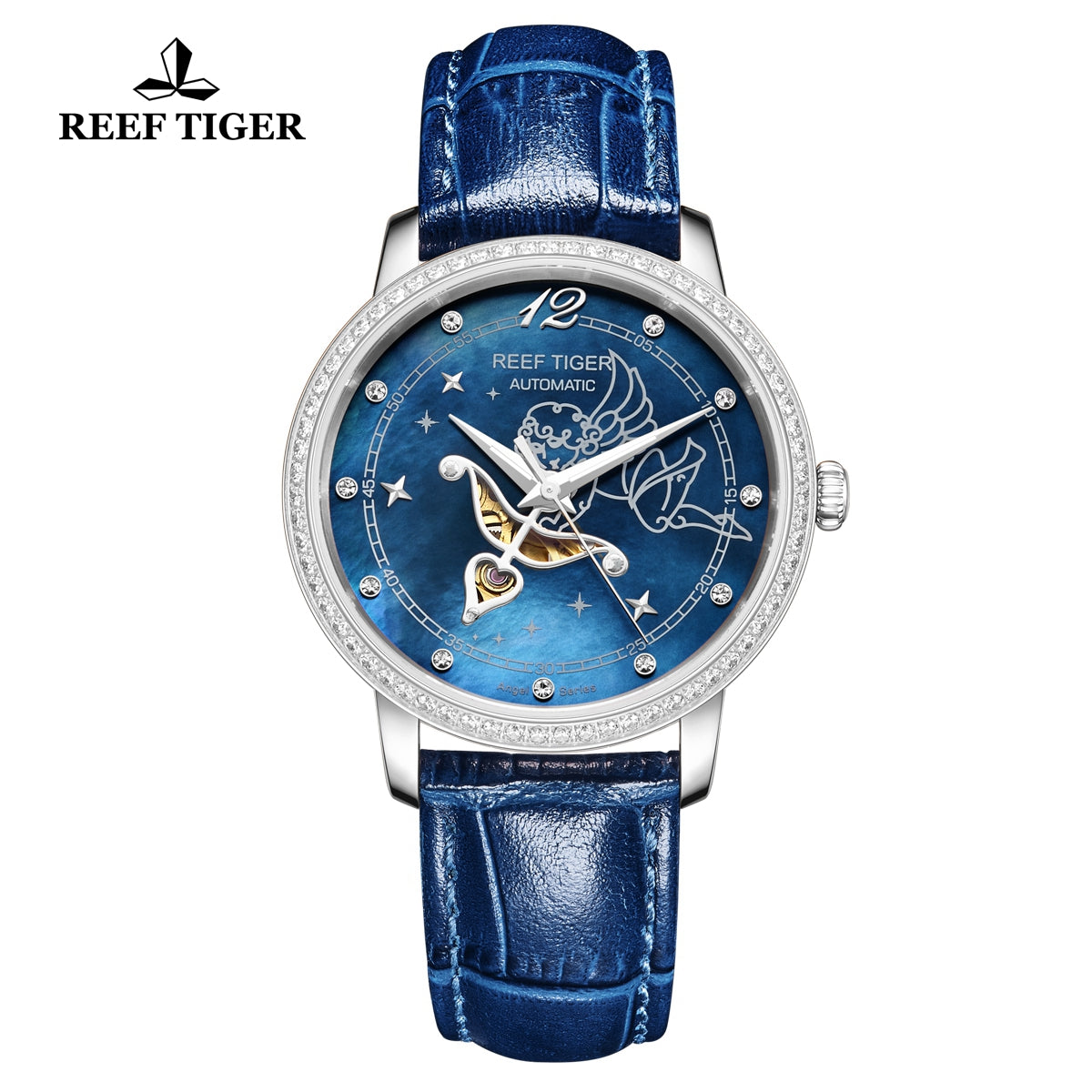 Reef Tiger Fashion Lady Steel Blue Leather Strap Diamonds Women Watch RGA1550
