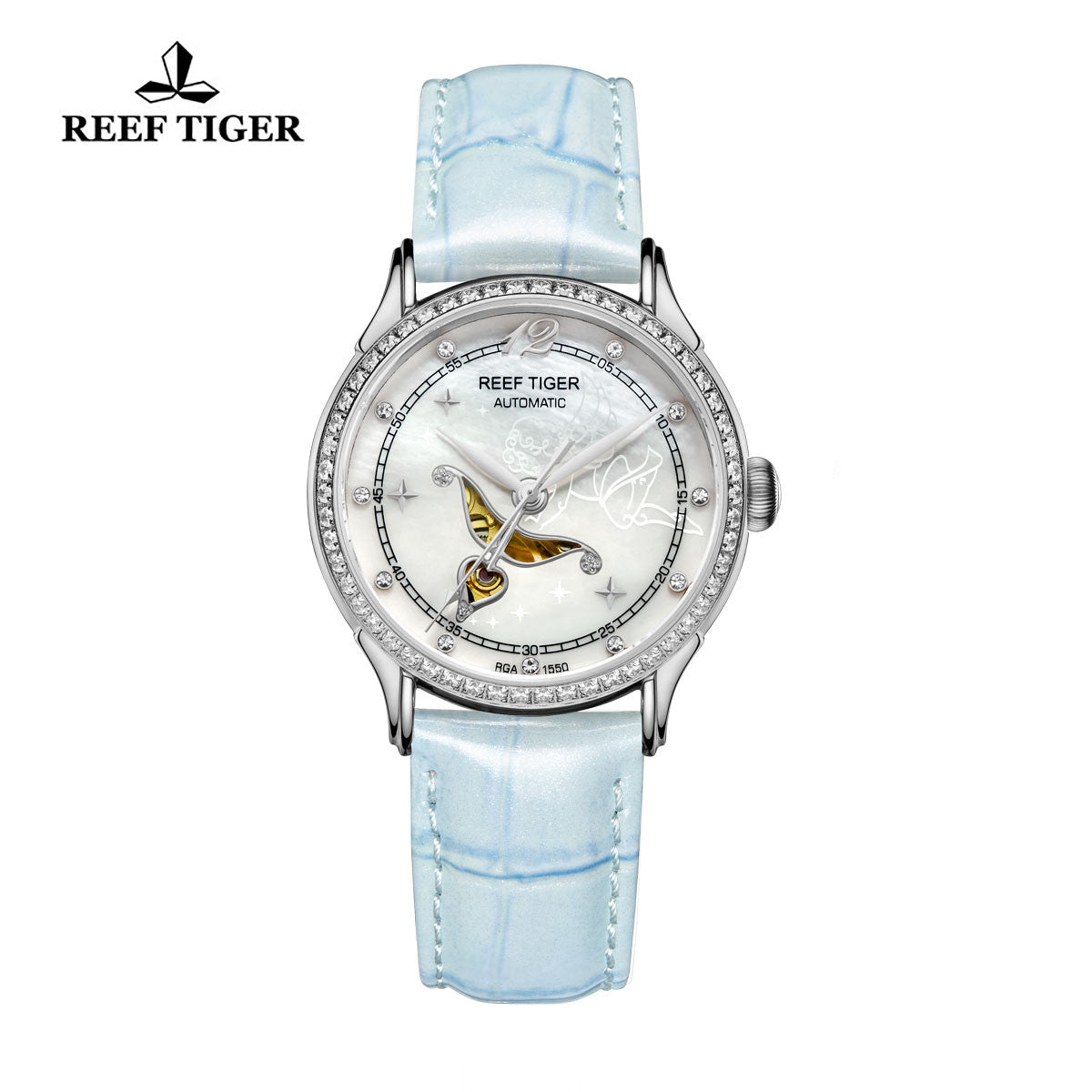 Reef Tiger Steel Leather Strap Diamonds Watch for Women RGA1550