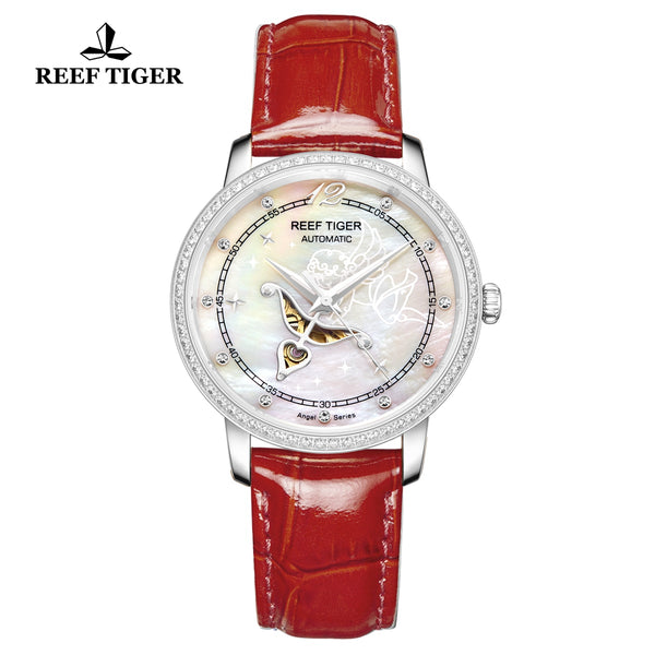 Reef Tiger Fashion Lady Steel Red Leather Strap Diamonds Women Watch RGA1550
