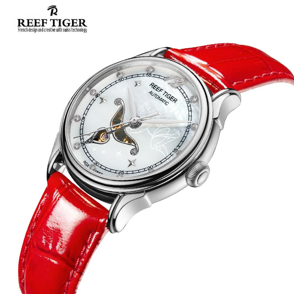 Reef Tiger Fashion Steel Leather Strap Womens Diamonds Watch RGA1550