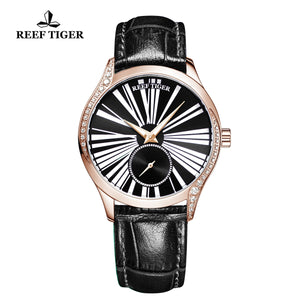 Reef Tiger Love Highness Fashion Men Rose Gold Genuine Leather Strap Automatic Watches RGA1561-PBB