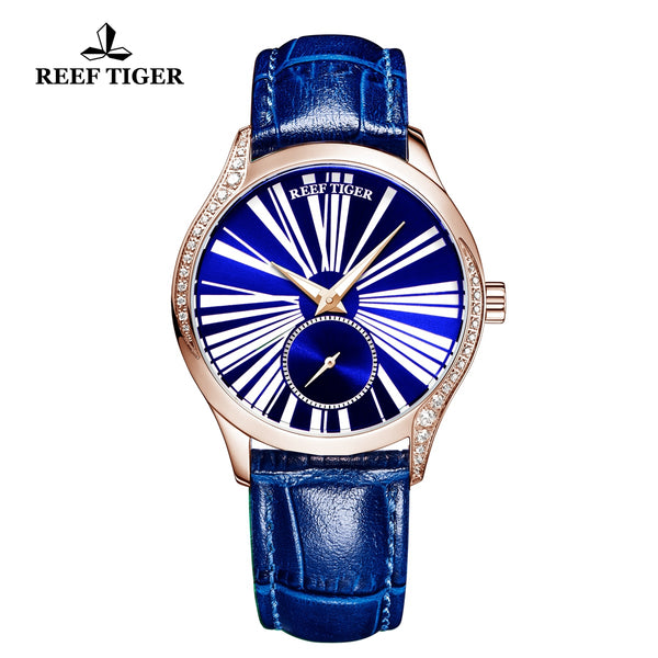 Reef Tiger Love Highness Fashion Men Rose Gold Genuine Leather Strap Automatic Watches RGA1561-PLL