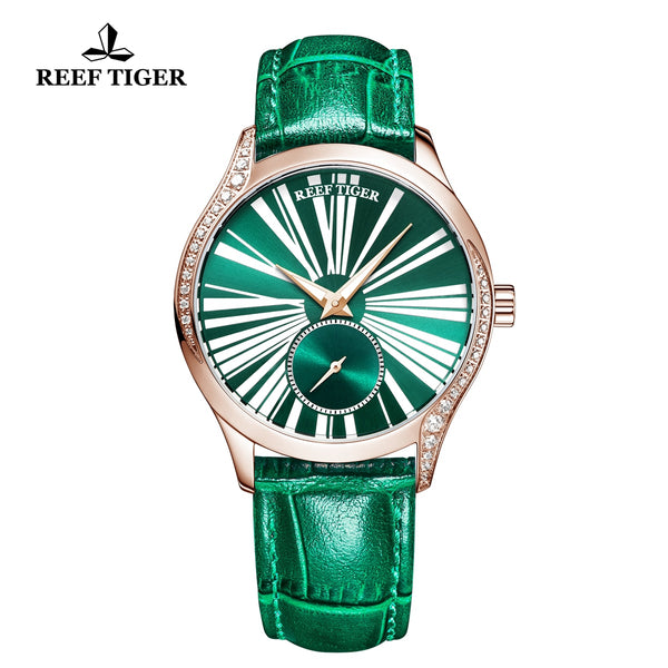 Reef Tiger Love Highness Fashion Rose Gold Men Genuine Leather Strap Automatic Watches RGA1561-PNN
