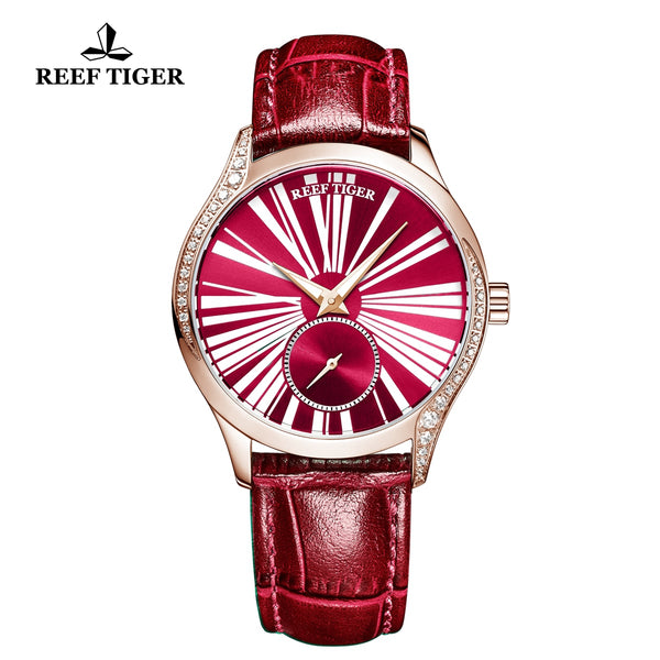 Reef Tiger Love Highness Fashion Rose Gold Genuine Leather Strap Automatic Men Watches RGA1561-PRR