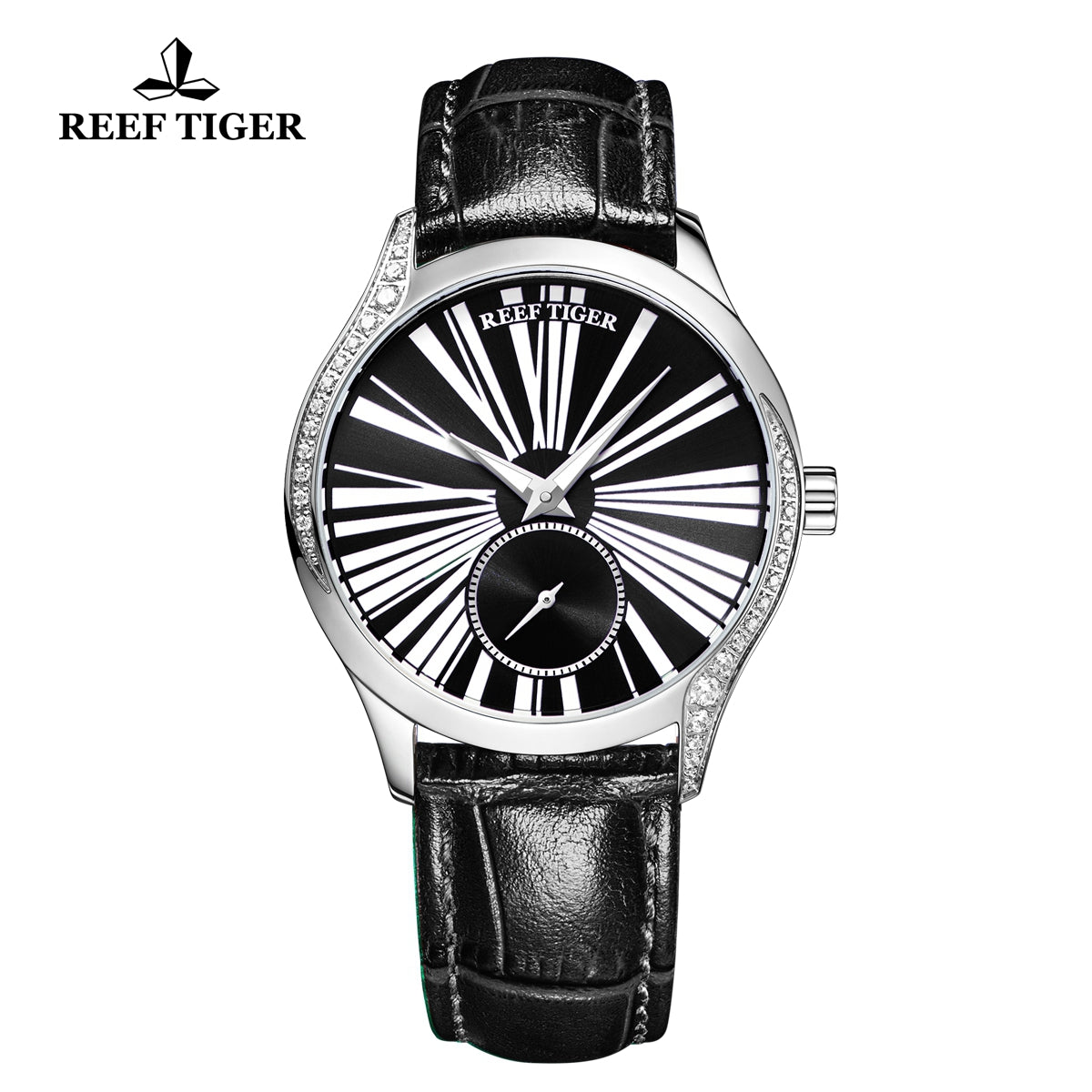 Reef Tiger Love Highness Fashion Men Steel Genuine Leather Strap Automatic Watches RGA1561-YBB