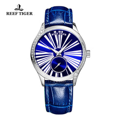 Reef Tiger Love Highness Fashion Men Steel Genuine Leather Strap Automatic Watches RGA1561-YLL