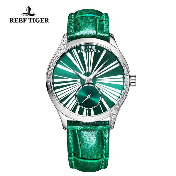 Reef Tiger Love Highness Fashion Men Steel Genuine Leather Strap Automatic Watches RGA1561-YNN