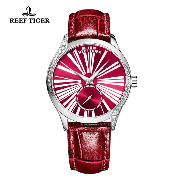 Reef Tiger Love Highness Fashion Steel Men Genuine Leather Strap Automatic Watches RGA1561-YRR